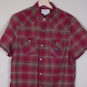 Plaid Red Short-Sleeve Casual Shirt